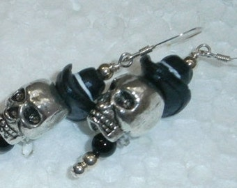 Halloween SPECIALS 925 Sterling silver  Silver Head Black Cowboy Hat Skeleton Dangle  Earrings