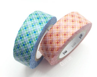 Japanese grid dots Pretty Washi Tape set of 2 blue orange