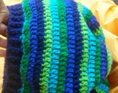 Blue and green hippie rasta tam slouch beanie hat