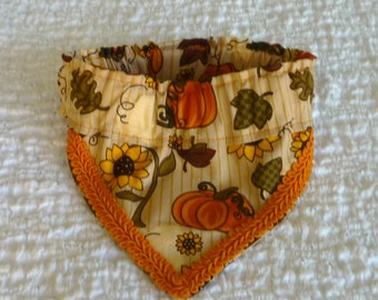 "Dog Bandana, Thanksgiving Dog Scrunchie, Harvest Bounty Fancy Bandanchy with orange gimp trim - Size S: 12"" to 14"" neck"