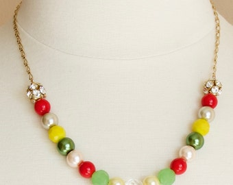 Multicolor Gold Chain Necklace with Red, Yellow, Green and Pale Pink Beads, Colorful Party Necklace, Mothers Day Gift, Bridal Party Jewelry