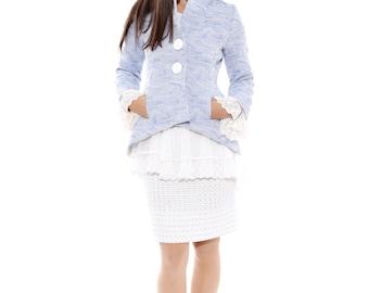 Designer Jacket with lace collar and cuffs, Slim fit cotton jacket, Edwardian jacket, Romantic wedding jacket, blue Renaissance jacket