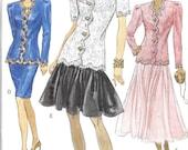 VOGUE 8228 UNCUT Size 12 14 16 Retro 1980's 1990's Drop Waist Jacket Skirt Pattern