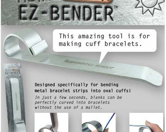 Metal Bending Tool Cuff Bracelet Jewelry Making Shape from Sheet Strips and Blanks Easy to Bend BeadSmith EZ-Bender