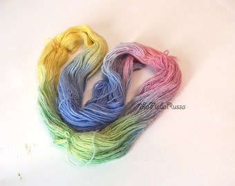 alpaca rowing rainbow yarn hand-dyed, 98 gr, purple pink yellow green blue