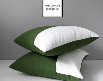 Olive Green & White Outdoor Pillow Cover, Modern Color Block Pillow Cover, Decorative Pillow Cover, Palm Green Sunbrella Cushion Cover