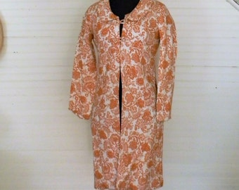 Vintage Coat Dress, Duster, 1960s Floral Duster, Jane Austen Style Duster Jacket, High Waist Orange and White Print Long Jacket, Size Small