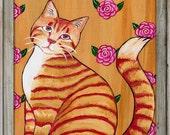 Original  Acrylic Painting,  Cat Art, Pink Flowers, Orange cat, Nursery Decor, Animal paintings , 9 x 12