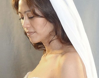 Silk Chiffon Wedding Veil, Bridal Veil, Soft Veil - MADE TO ORDER
