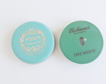 Vintage Cosmetics, Cake Makeup, Ponds and Westmore's, Vintage Toiletries, Boudior, Bathroom Decor, Turquoise Blue, Teal Green