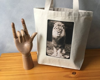 "African Lion - Original Photograph - Canvas Bag - Handbag Tote - Natural Essentials Tote - Tamarr the Lion - More info in ""Item Details"""