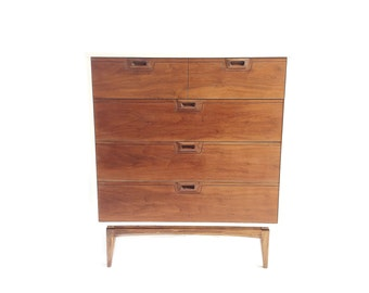 Vintage Highboy In White and Wood