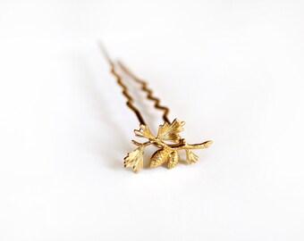 Baby Pinecone Hair Stick, Gold Leaf Hair Pin, Bun Stick, Updo Device, Gold Plated, Hand Made, Bridal Hair Pin, Wedding Hair Clip