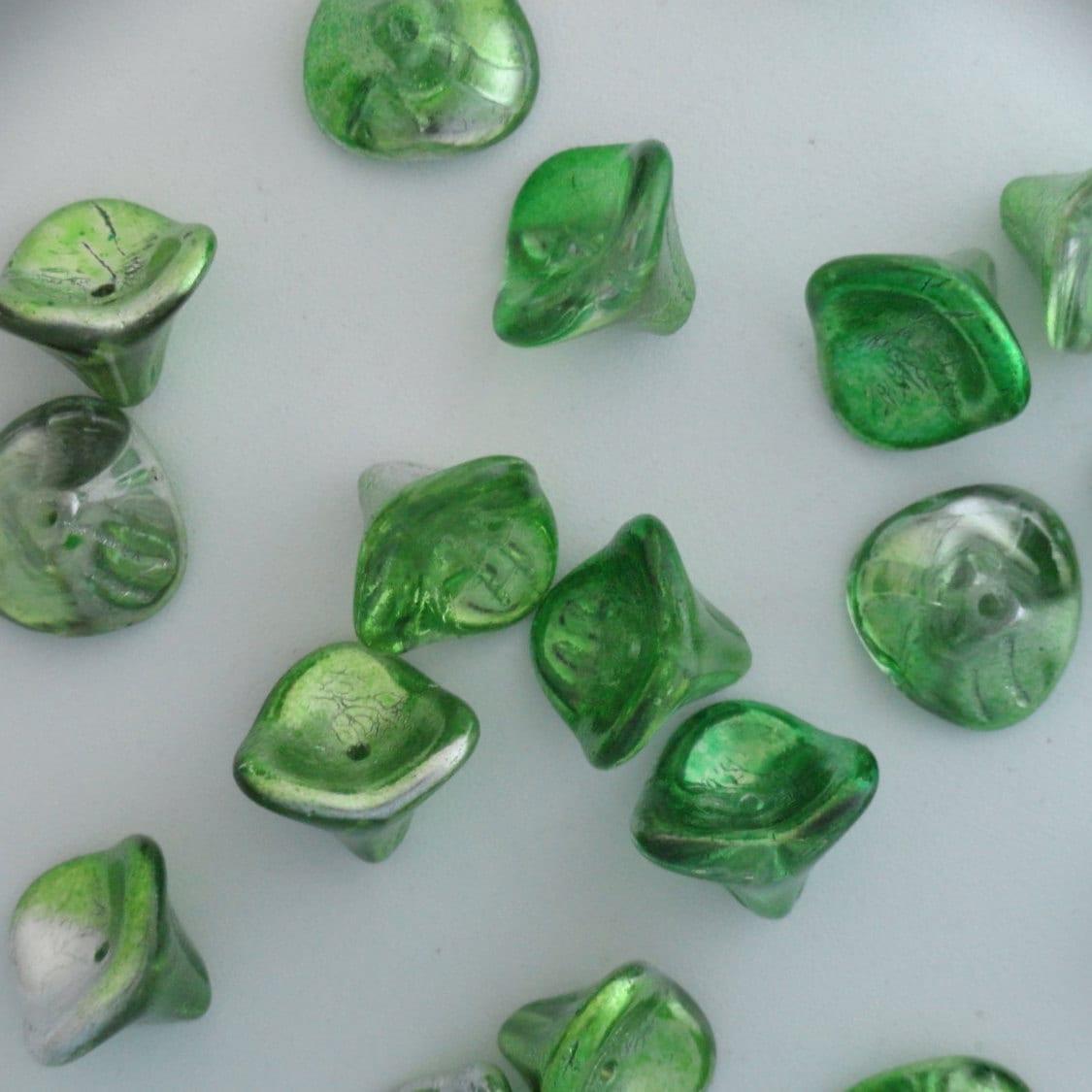Three Petal Flower Czech Glass Bead Jet Black 12 Czech: Czech Glass Flower Cups Beads Metallic Green And Silver