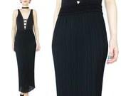 Column Black Maxi Skirt Bodycon High Waist Skirt Accordion Pleated Skirt 1990s Minimalist Black Skirt Stretchy Skirt Long Black Skirt (XS/S)