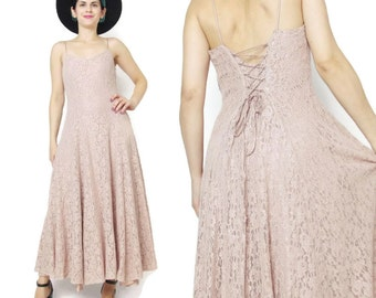 90s Grunge Pink Lace Maxi Dress Dusty Pink Sheer Lace Up Corset Back Full Skirt Spaghetti Strap Grunge Prom Dress Bridesmaid Formal M E382