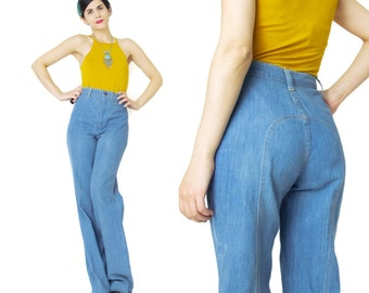 Vintage 1970s Jeans Womens Vintage High Waist Jeans Wide Leg Jeans Bell Bottoms Saddleback Flared Jeans Western Medium Wash Denim Jeans (XS)