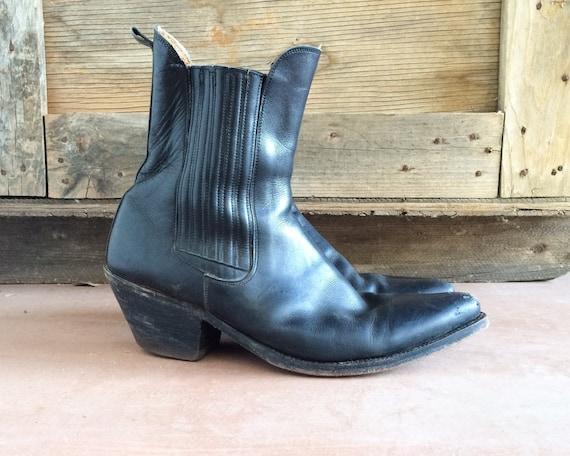 Vintage Tony Mora Men S Black Ankle Boot Short Cowboy