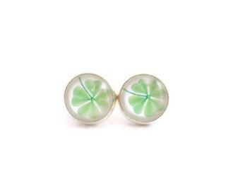Clover Earrings, 4 Leaf Clover, Shamrock Earrings, St Patricks Day, Good Luck Jewelry, Teen Girl Gifts, Tween Girl Gifts, Earrings for Teen