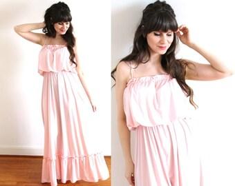 1970s Maxi Dress / 70s Grecian Pink Maxi Dress