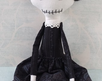 Spooky girl, gothic art doll - Elvia