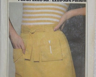 Sz R (14-16-18) Vintage 70s Simplicity ESP ( Extra Sure Pattern)  Sewing Pattern 8534 Golf  Skirt with Attached Shorts, Tie Belt & Pouch