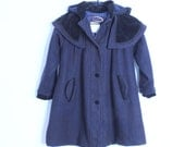 90's Princess Wool Blend Winter Coat With Large Hood Size 6X Girls