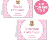 INSTANT DOWNLOAD Pink Teddy Bear Party Buffet Cards - EDITABLE Printable File