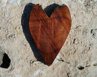 Rustic Texas Honey Mesquite burl wood heart magnet OOAK cut with live edge top