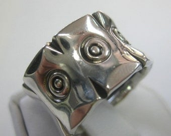 Sterling Silver Heavy Artisan Ring Band Size 6 1/2 or 8 1/2