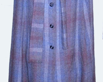 Full Length Wool Plaid Cape in Blue made in IrelandSZ M-L