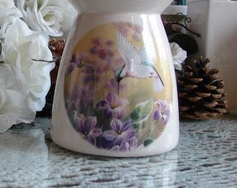 Humming Birds in Violets! Ceramic Tea Light Tart Burner