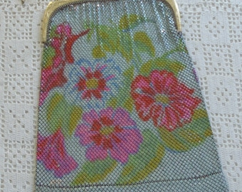 Vintage Purse Whiting and Davis Floral Mesh