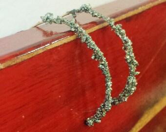 Pyrite 14k Yellow Gold Fill Half Hoop Earrings 20GA