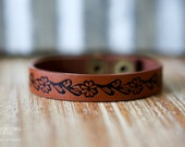 CUSTOM HANDSTAMPED CUFF - bracelet - personalized by Farmgirl Paints - brown cuff with dark flower detailing