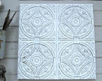 Tin Ceiling Tile, Oklahoma Architectural salvage, Vintage wall decor, Antique pressed tin, Off-white cream color decor, metal tile art