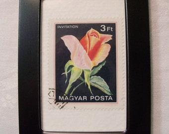 Rose Stamp,Bridesmaid gift, Vintage Stamp, Framed Stamp, Rose Art, Pink Rose, Gift under 10, postage stamp
