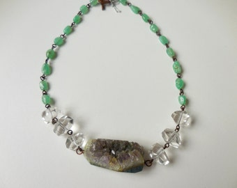 Druzy Stone Statement Necklace with Green Geode Focal, Quartz Crystal and Chrysoprase in Copper