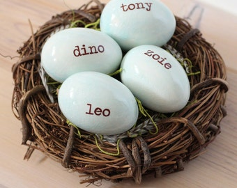 Custom name and date eggs, Personalized name eggs nest, bird nest wedding gift, birthday gift for moms, 1-7 eggs