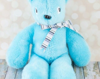 Plush Teddy Bear - Blue Faux Fur Fabric