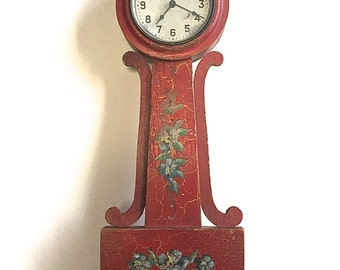Vintage Wall Clock Folk, Hand Painted Floral Red Distressed Chippy Country