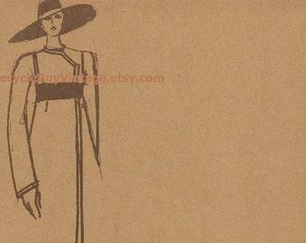 vintage 1970's haute couture forquet fashion plate drawing illustration print retro picture designer women clothing original mid century old
