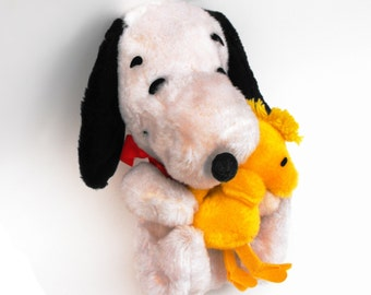 1968 Peanuts Snoopy & Woodstock Vintage Knickerbocker Musical Wind Up Plush Stuffed Animals Charlie Brown Schulz Comics Collectible Toy Set