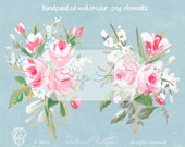 Watercolor Bouquets Handpainted Gouache Floral Clipart Elements PNG Instant Download Painted Roses