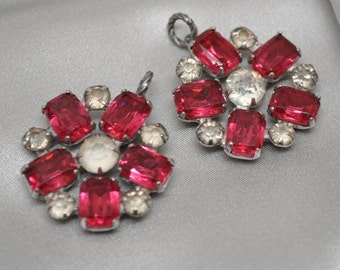 2 Pink or Fuchsia Vintage Rhinestone Charms for Assemblage Jewelry