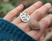 Silver Ring Statement Ring Split Shank Leaf Fall Ring Sonoran Jasper Cocktail Ring Sterling Silver Jewelry Double Finger Ring Ready to Ship