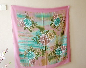 Pink scarf Turquoise Womens Summer scarf Flower Scarf Pink Blue Green Lightweight Square scarf