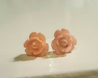 Wedding Bridal Prom Light Pink Rose Stud Plugs Gauges 10g, 8g  t638