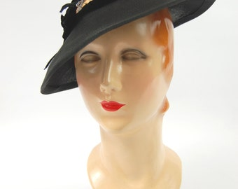 30s 40s Miss Ruth Hat - Black Straw 30s Hat - Hat with open crown - Black 1930s Hat - Jaunty 30s Hat