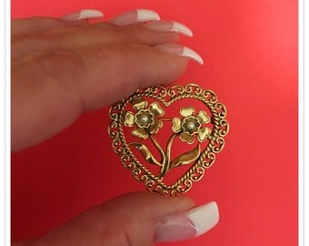 Vintage Heart and Flower Brooch, Gold Tone, Faux Pearls, 1970's